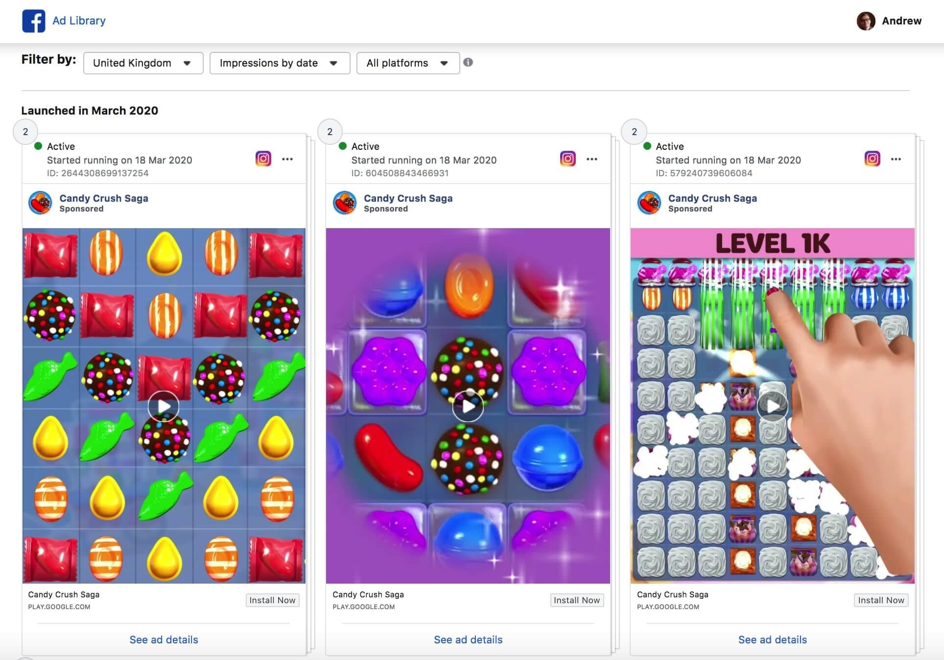 ad library screenshot
